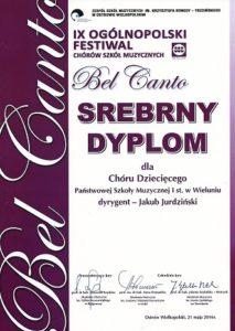 Srebrny Dyplom zdobyty przez Chór Dziecięcy Państwowej Szkoły Muzycznej I st. w Wieluniu