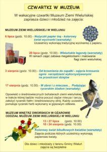 Plakat zapraszający na zajęcia wakacyjne w Muzeum Ziemi Wieluńskiej w Wieluniu i Muzeum Wnętrz Dworskich w Ożarowie Oddział Muzeum Ziemi Wieluńskiej