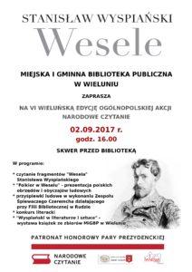 Zaproszenie na VI Edycję Narodowego Czytania w Wieluniu