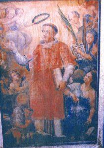 Święty Wawrzyniec diakon i męczennik. Obraz z 1 połowy XVIII wieku.Skan