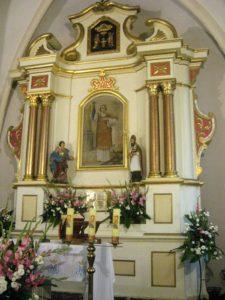 Ołtarz główny z wizerunkiem św. Wawrzyńca