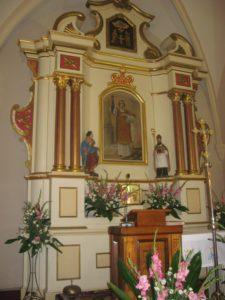 Ołtarz główny z wizerunkiem świętego Wawrzyńca
